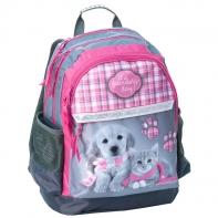 Plecak szkolny dla dziewczynki Paso KOTEK i PIESEK