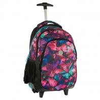 Plecak szkolny na kółkach Paso kolorowe motyle