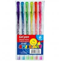 Zestaw 6 długopisów żelowych fluoroscencyjnych TITANUM fun&joy