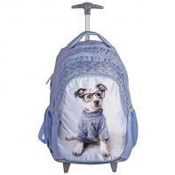 Plecak szkolny na kółkach Paso, pies w okularach