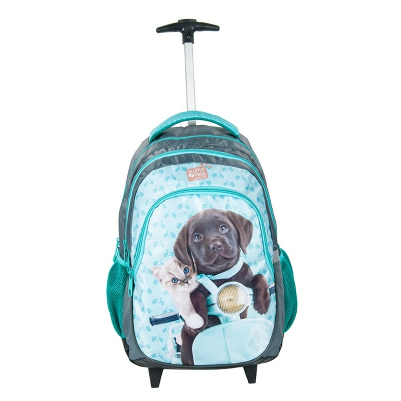 ce664dca68a03 Plecak szkolny na kółkach Paso, kot i pies na motorze