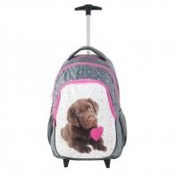 Plecak szkolny na kółkach Paso, pies z serduszkiem
