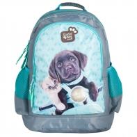 Plecak szkolny dla dziewczynki Paso kot i pies na motorze