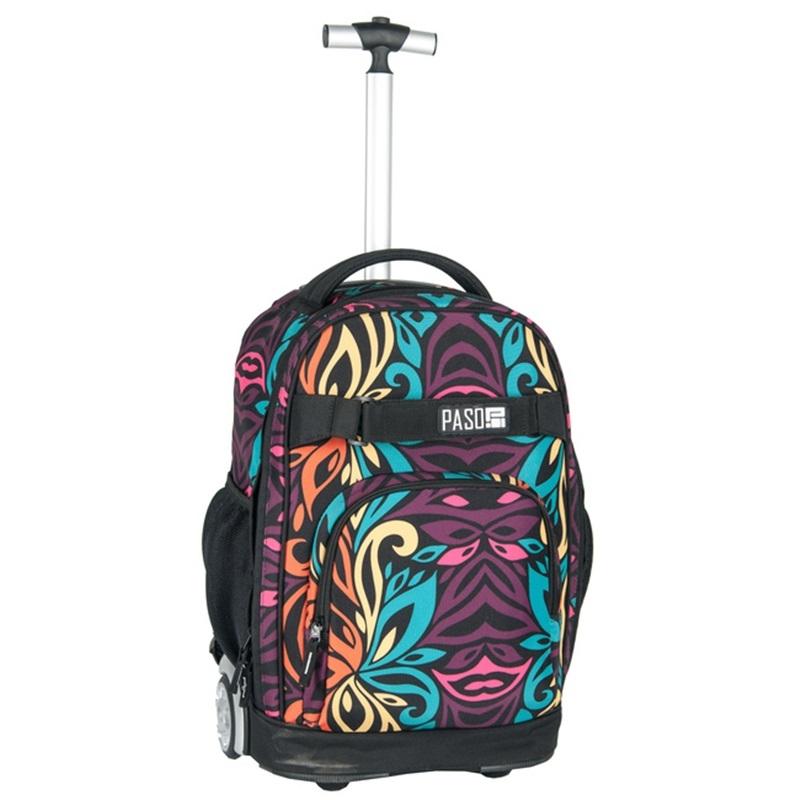1d08403491dc2 Plecak szkolny na kółkach Paso, duże koła, motyw tęczowy wzór