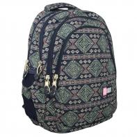 Trzykomorowy plecak szkolny St.Right 27 L, Aztec Art