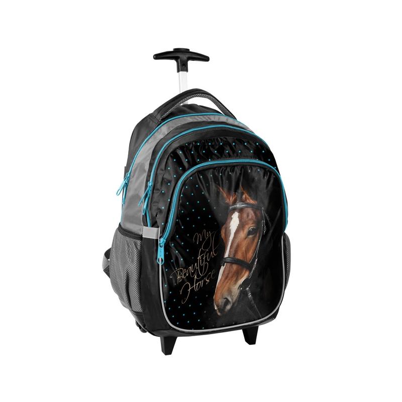 daaa86ff62c11 Plecak szkolny na kółkach z głową konia, Paso
