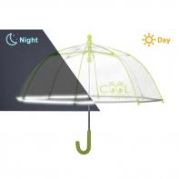 Dziecięca głęboka parasolka z odblaskową lamówką, zielona