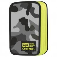Podwójny piórnik z wyposażeniem, Coolpack Jumper 2, Como Yellow Neon