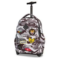 Plecak szkolny na kółkach CoolPack Junior 24 L, CAMO BLACK BADGES