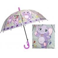 Przezroczysta głęboka parasolka dziecięca - słoń