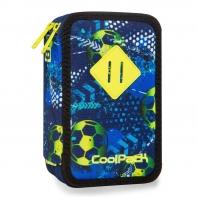 Potrójny piórnik z wyposażeniem, Coolpack Jumper 3 Football Blue, B67037
