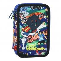 Potrójny piórnik z wyposażeniem, Coolpack Jumper 3 FOOTBALL CARTOON, B67036
