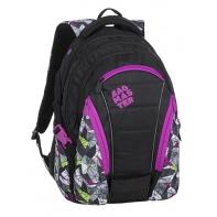 bf8af42fdaf19 Młodzieżowy plecak Bagmaster trzykomorowy czarny z fioletowymi wstawkami