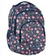 Lekki plecak szkolny Paso, granatowy w kwiatki