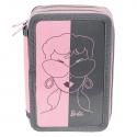 Piórnik dwukomorowy Paso, różowy Barbie