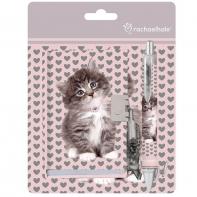 Zestaw pamiętnik + długopis w serduszka z kotkiem, Paso Rachael Hale