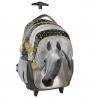 Plecak szkolny na kółkach z białym koniem, Paso