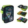 Potrójny piórnik z wyposażeniem Coolpack Jumper 3, Green Badges B67151