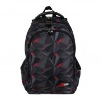 Dwukomorowy plecak szkolny St.Right 27L, CZARNA ABSTRAKCJA 3D