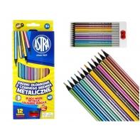 Kredki ołówkowe METALICZNE 12 kolorów Astra