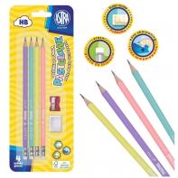 Pastelowe ołówki z gumką Astra 4 szt. + temperówka